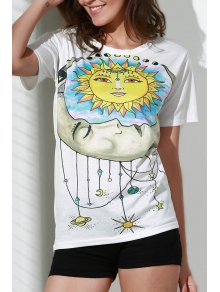 Sun Print Round Neck Short Sleeve T-Shirt