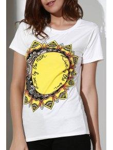 Sunflowers Print Round Neck Short Sleeve T-Shirt - White