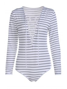 Striped Plunging Neck Long Sleeve Lace Up Bodysuit - White S