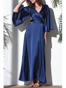 Flare Sleeve Cross-Over Maxi Dress - Deep Blue Xl