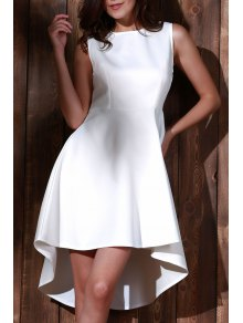 High Low Sleeveless White Evening Dress - White