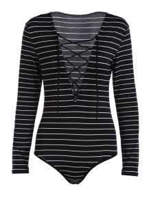 Striped Plunging Neck Long Sleeve Lace Up Bodysuit - Black Xl
