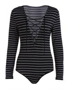 Striped Plunging Neck Long Sleeve Lace Up Bodysuit - Black M