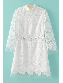Mock Neck Crochet Flower White Lace Dress