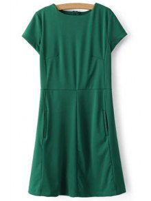 Green Round Neck Short Sleeve Dress