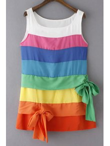 Colorful Stripe Scoop Neck Sundress