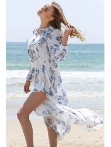 Full Floral V-Neck Long Sleeve Maxi Dress - White L