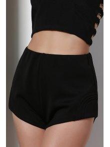 High-Waisted Black Shorts - Black