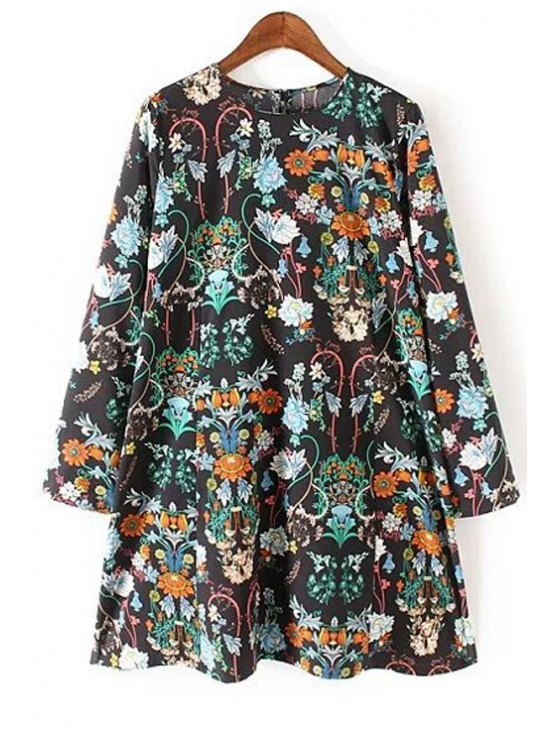 chic Long Sleeve Floral Print Flared Dress - BLACK S