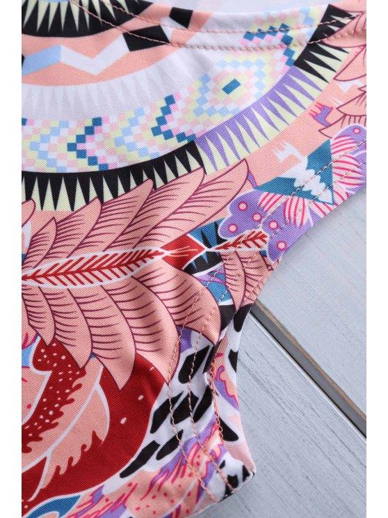 Retro Print Jewel Neck Sleeveless Sundress - PINK M Mobile
