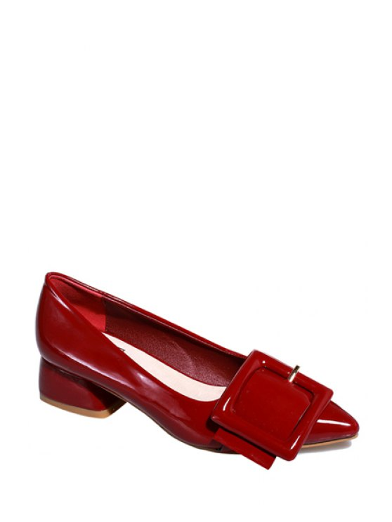 buy Square Buckle Pointed Toe Pumps - WINE RED 39