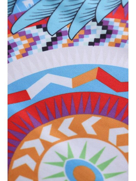 Retro Print Jewel Neck Sleeveless Sundress - BLUE M Mobile
