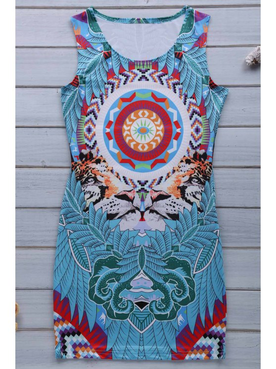 Retro Print Jewel Neck manches Sundress - Bleu M
