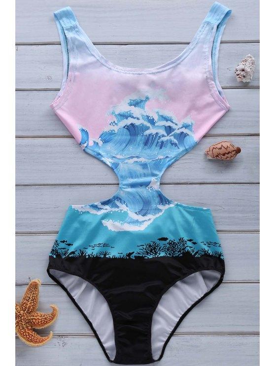 Vague Imprimer Jewel Neck One-Piece Maillots de bain - Multicolore XL