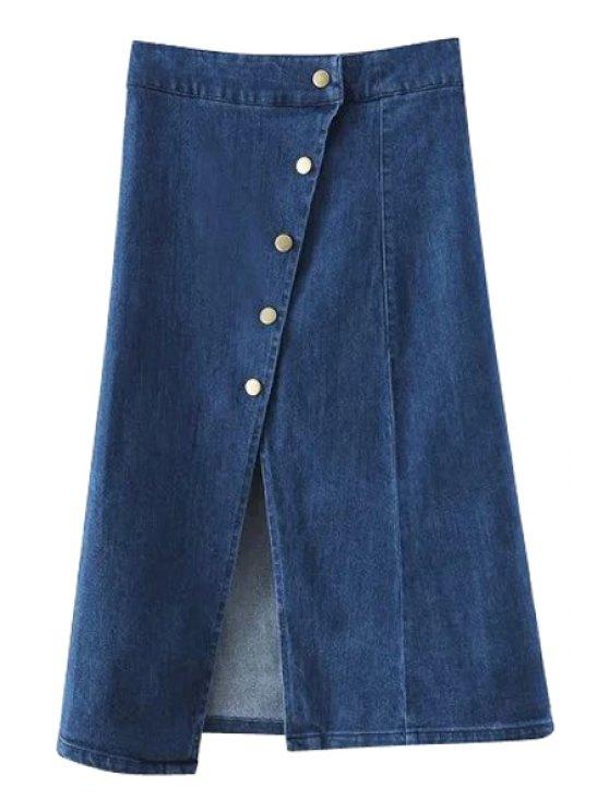 Color sólido de un solo pecho de la alta cintura del dril de algodón de la falda - Marina de Guerra M
