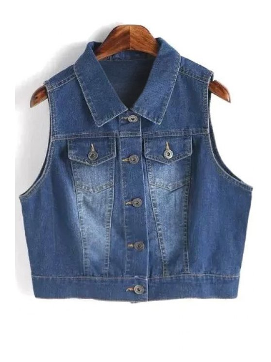 sale Metallic Button Denim Waistcoat - DEEP BLUE L