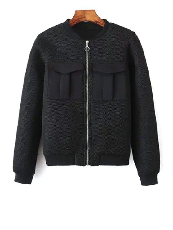 Doble color sólido del bolsillo del soporte de la chaqueta de cuello de manga larga - Negro L