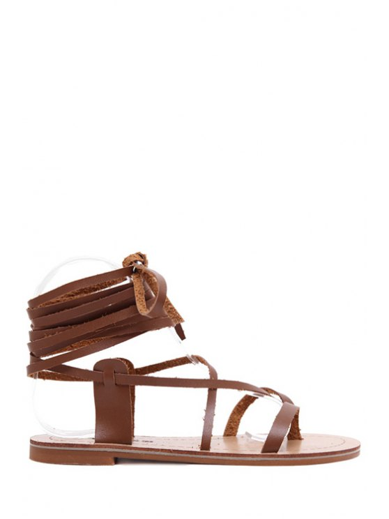 outfits Lace-Up Flat Heel Sandals - BROWN 35