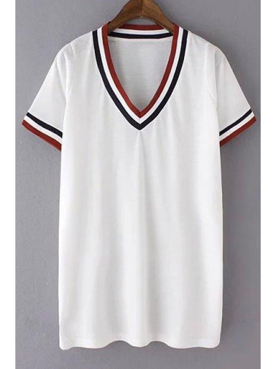 lady V-Neck Striped T-Shirt - WHITE S