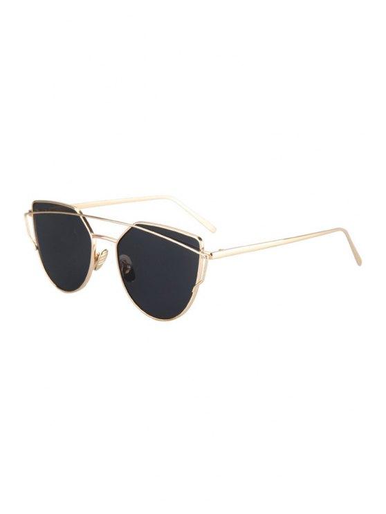 outfit Metal Bar Golden Frame Pilot Sunglasses - BLACK