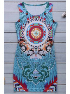 Retro Print Jewel Neck Sleeveless Sundress - Blue Xl