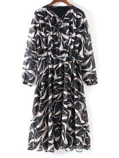 Pleated Front Bird Print Dress - Black L