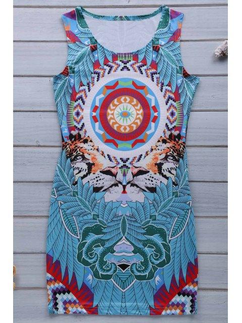 new Retro Print Jewel Neck Sleeveless Sundress - BLUE XL Mobile