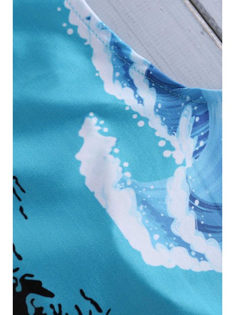 fancy Wave Print Jewel Neck One-Piece Swimwear - COLORMIX XL Mobile