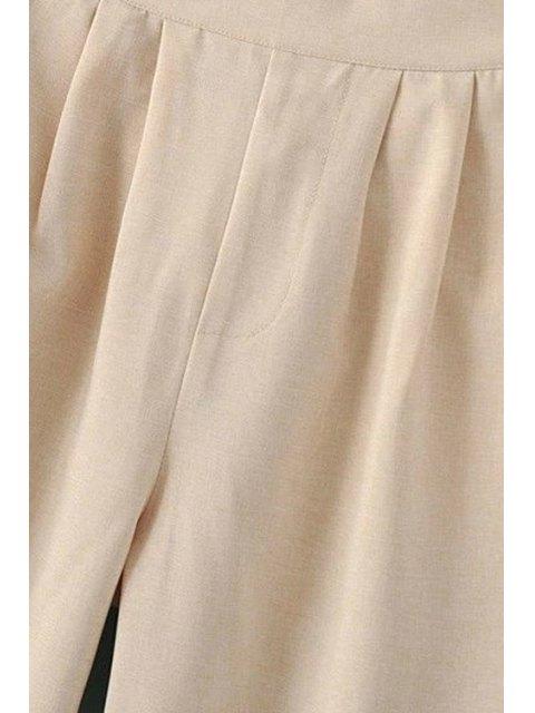 ladies Elastic Waist Wide Leg Capri Pants - BLUE L Mobile