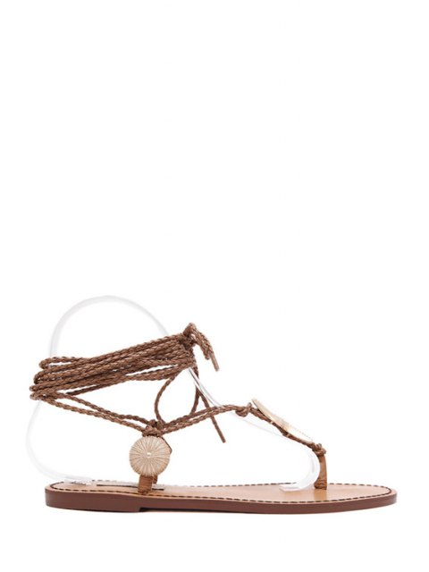 fashion Lace-Up Metal Asymmetrical Sandals - BROWN 35 Mobile