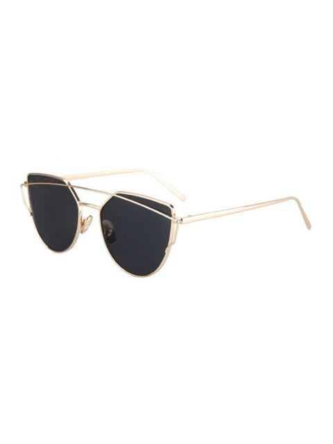 outfit Metal Bar Golden Frame Pilot Sunglasses - BLACK  Mobile