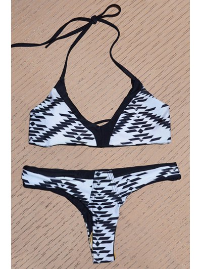 Geometric Print Cami Bikini Set - Colormix L