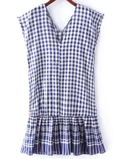 Checked Flounce Ruffles V Neck Sleeveless Dress - BLUE ONE SIZE(FIT SIZE XS TO M) Mobile