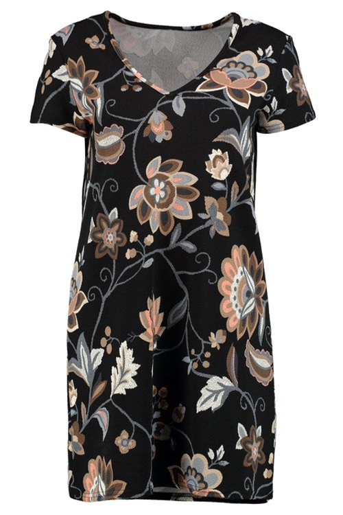 V-Neck Printed Short Sleeve Dress