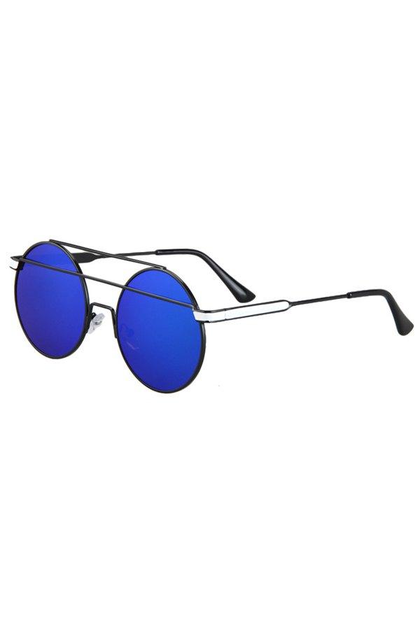 Metal Bar Black Round Frame Sunglasses