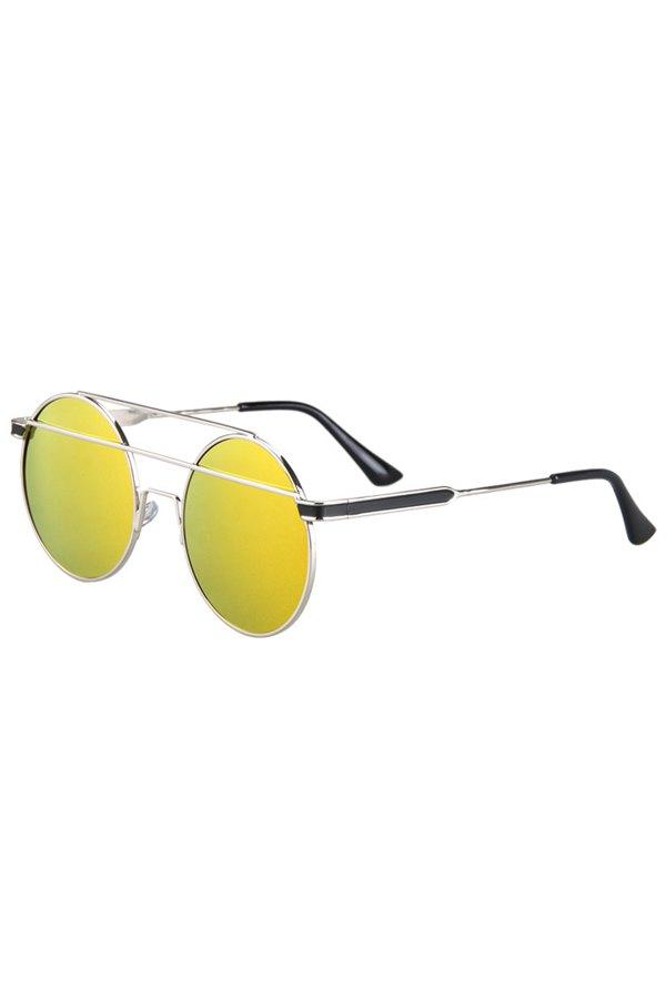 Metal Bar Golden Round Frame Sunglasses