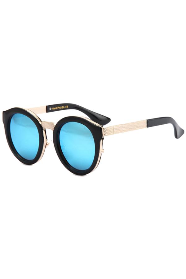 Black Frame Metal Splicing Sunglasses For Women