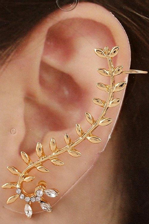 ONE PIECE Stylish Rhinestone Leaf Earring For Women
