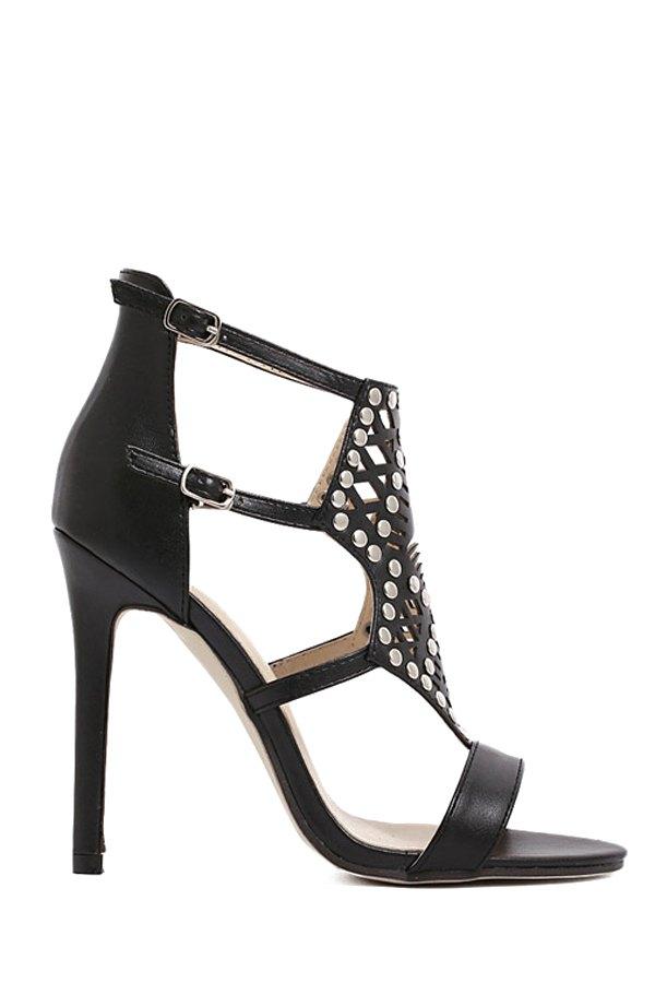 Rivet Hollow Out Stiletto Heel Sandals - BLACK