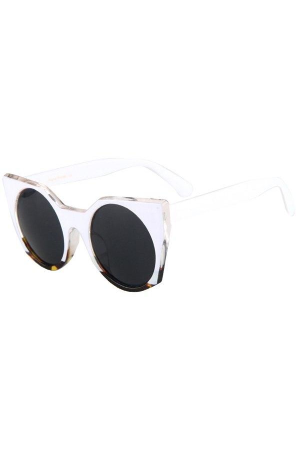 Round Lenses White Match Cat Eye Sunglasses