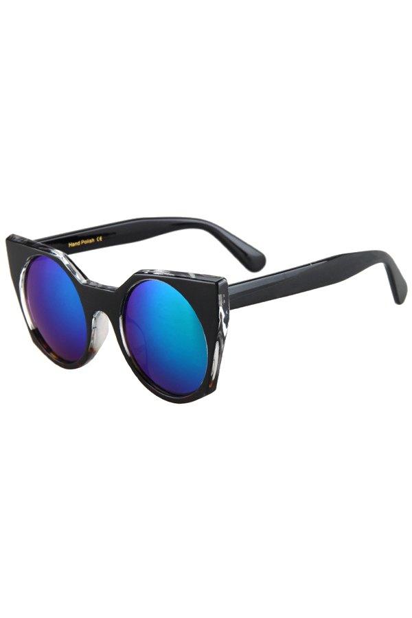 Round Lenses Color Block Cat Eye Sunglasses