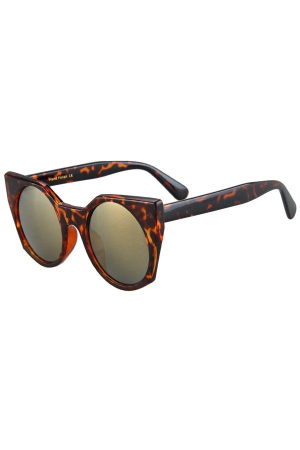 Round Lenses Leopard Pattern Cat Eye Sunglasses
