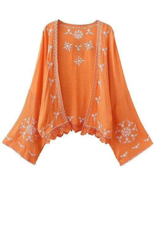 Open Front Kimono Sleeve Embroidered Blouse