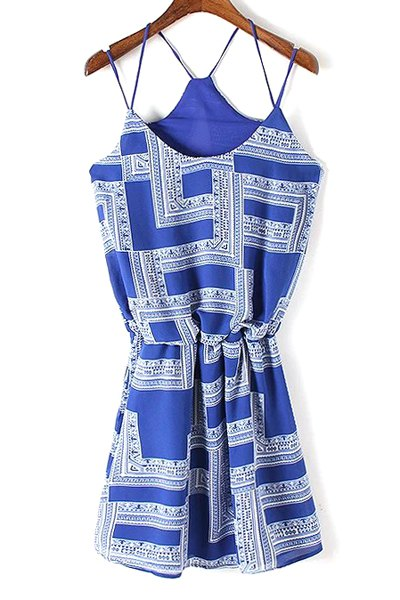 Spaghetti Strap Geometric Print Cami Dress