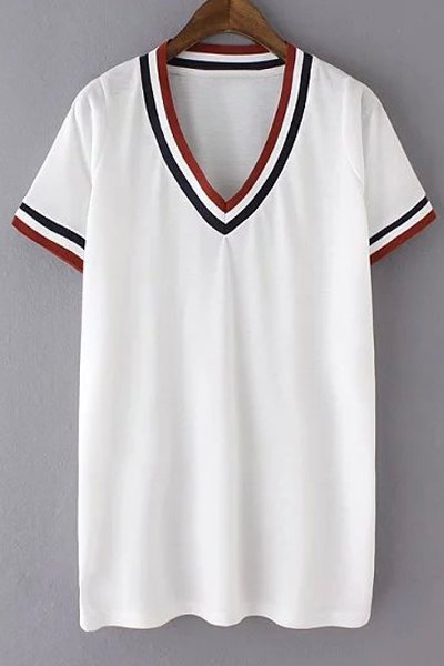 V-Neck Short Sleeve Striped T-Shirt