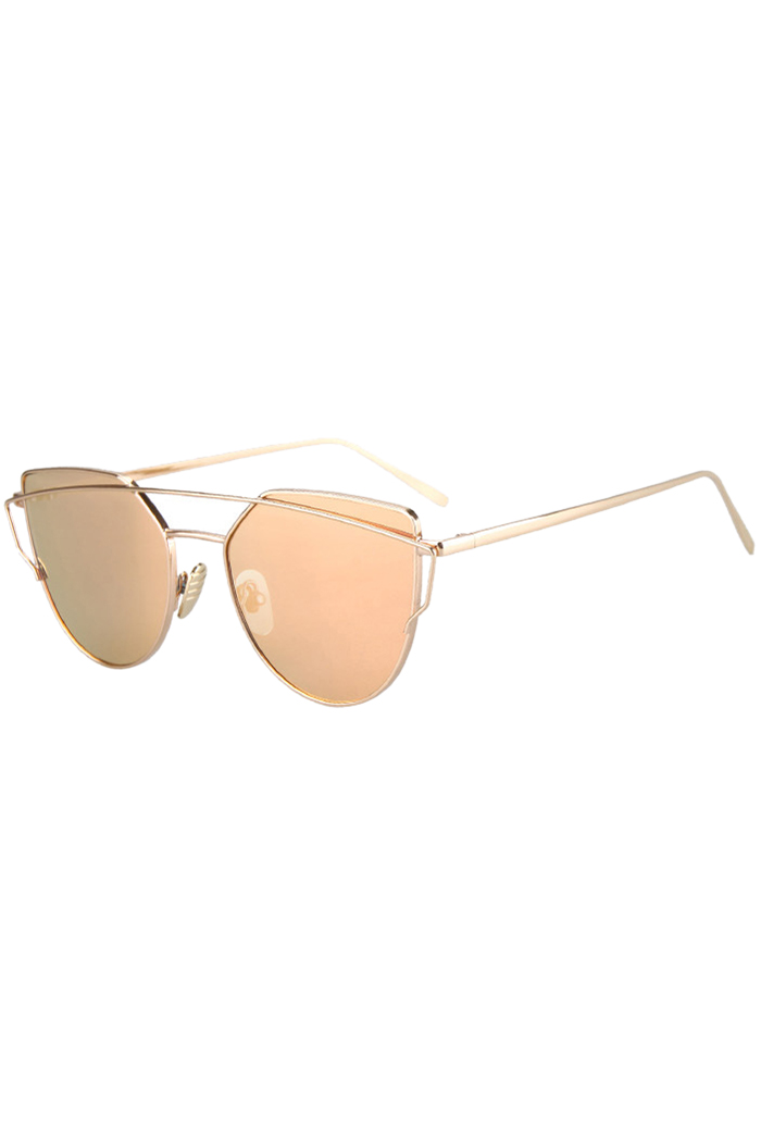 Metal Bar Golden Frame Pilot Sunglasses - GOLDEN