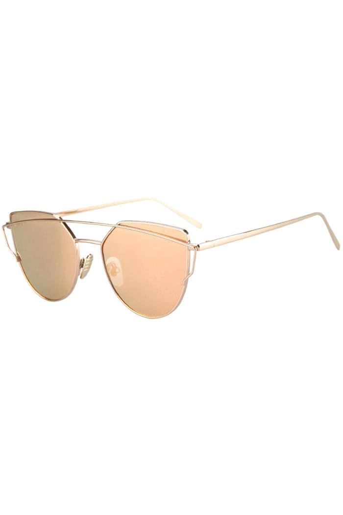 Metal Bar Golden Frame Pilot Sunglasses - GOLDEN