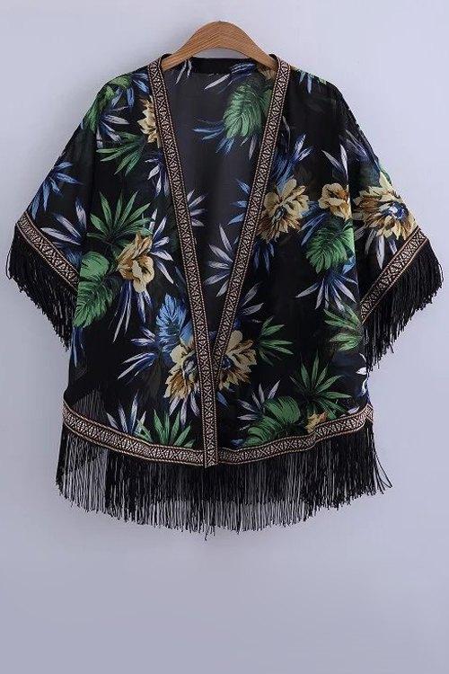 Batwing Sleeve Printed Kimono Blouse