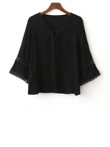 Solid Color Lace-Up Round Neck 3/4 Sleeve Blouse - Black M