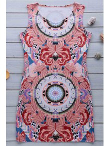 Retro Print Jewel Neck Sleeveless Sundress - Pink M